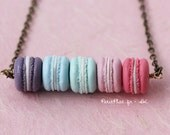 Pastel Macaron Necklace in a Row - Pastries from Paris