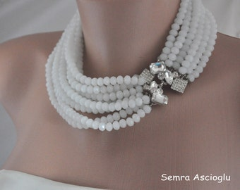 White Crystal Bib Necklace with Rhinestone embellishment , Brides ,special occasion