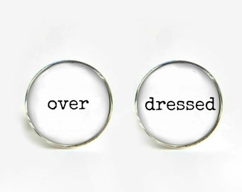 OVER DRESSED Cufflinks silver 18mm cuff links Gifts for him