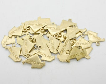 Maryland State Charm, Raw Brass, 60 pieces, Made in the USA