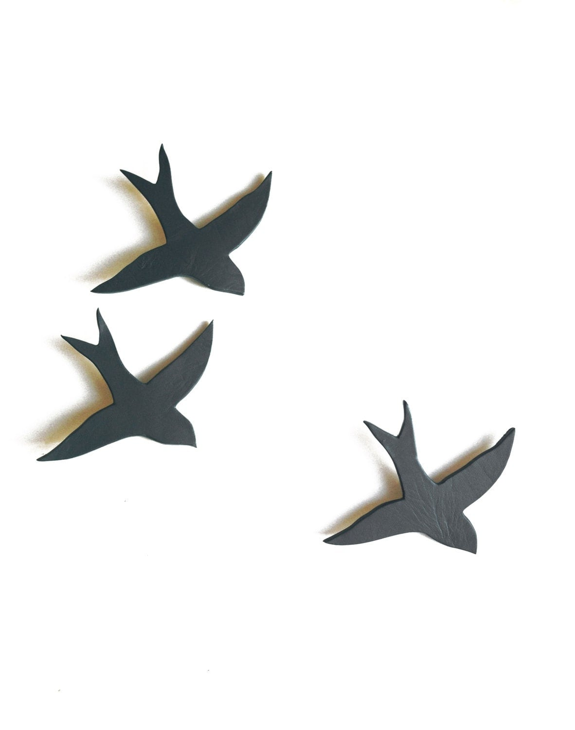 Ceramic Wall Sculpture Swallows We Three Together Gray