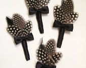 RESERVED for cookiemeachum, Set of 2 Guinea Feather Wedding Boutonnieres