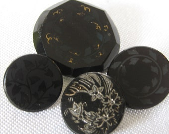 Lot of 4 ANTIQUE Black Glass BUTTONS