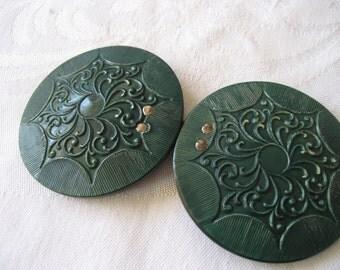 Large VINTAGE Green Filigree Design Celluloid Clasp Belt Buckle