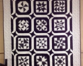 Black and White Sampler Quilt - 62 x 77 - Star Stars modern