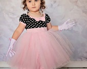 TUTU  Dress black polka dot with PINK skirt for baby toddler girl holiday birthday party portrait flower girl special occasion