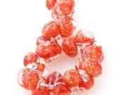 10 Teardrop Handmade Lampwork Beads Glitter series Lava (2058)