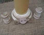 Shabby Chic Wood Wedding Personalized Unity Candle Holder Set - You Pick Color - Item 1569