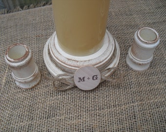 Shabby Chic Wood Wedding Personalized Unity Candle Holder Set - You Pick Color - Item 1569