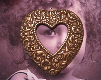 Large  Floral Brass Ox Plated Heart Pendant 435BOX x1