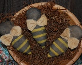 SET OF THREE Primitive Spring Bumblebee Tucks Bowl Fillers Ornies