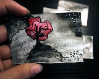 Mini ink painting on canvas 3,5x2,5in art card - Pink tree
