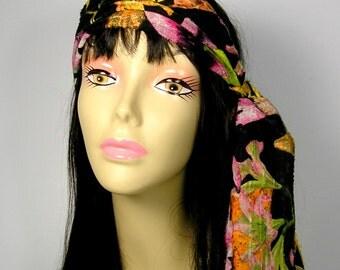 Boho Hair Scarf Boho Head Scarf Black Orange Yellow Green Pink Hair Scarves Hippie Hair Ties Head Wraps Turban Hair Wraps Bandanas Hair Wrap