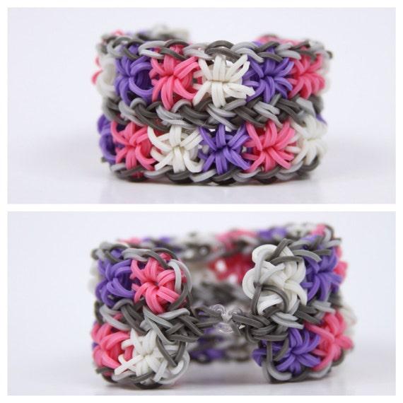 Double Starburst Rainbow Loom Bracelet  quot Hyacinths quot Rainbow Loom Double Starburst
