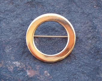 Brooch, Pin, Vintage Monet Gold Tone Circle Brooch