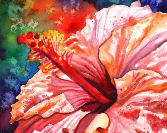 hibiscus art prints, 8x10 giclee print, hawaiian art,  pink hibiscus, hibiscus paintings, kauai maui oahu,  hawaiiana, tropical flowers
