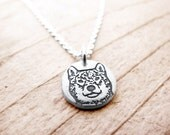 Tiny Shiba Inu necklace, silver pet memorial jewelry, remembrance necklace, Shiba Inu jewerly
