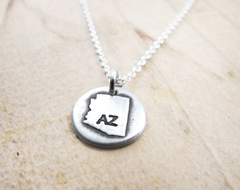 Tiny Arizona necklace, silver state jewelry map pendant
