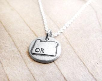 Tiny Oregon necklace, silver state jewelry Oregon pendant