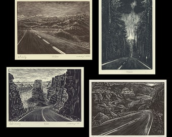 Woodcut Prints Southwest Collection 4 Original Wood Engravings Desert Road Landscapes Mountain Lake Forest