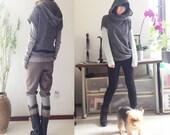 Wandering poet - hoodie vest and cotton shirt set (P5101)