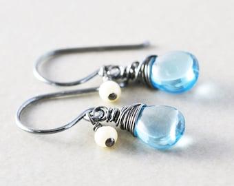 Blue Topaz Dangle Earrings, December Birthday, Blue Gemstone Drop Earrings, Petite Earrings