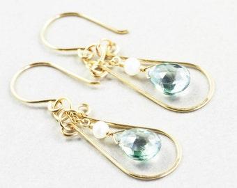 Green Quartz Dangle Earrings, Green Drop Earrings, Gold Hoop Earrings