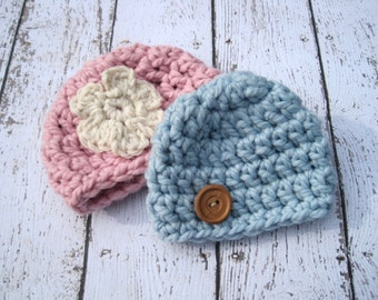 Twin Baby Hat Set, Crochet Baby Hats, Twin Baby Hats, Baby Beanie, Baby Boy Hat, Baby Girl Hat, Newborn Twin Hats, Infant Beanie, Blue, Pink