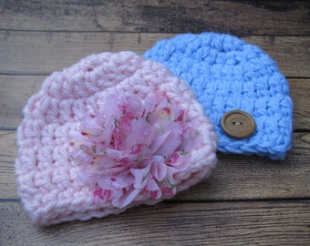 Baby Twin Hats, Hats for Twins, Newborn Twin Hats, Twin Hospital Hats, Crochet Twin Hats, Twin Infant Hats, Twins Photo Props, Baby Beanies