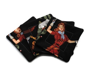 Handmade Quilted  Coasters set of 4 Sassy Cowgirls Black Alexander Henry Last One