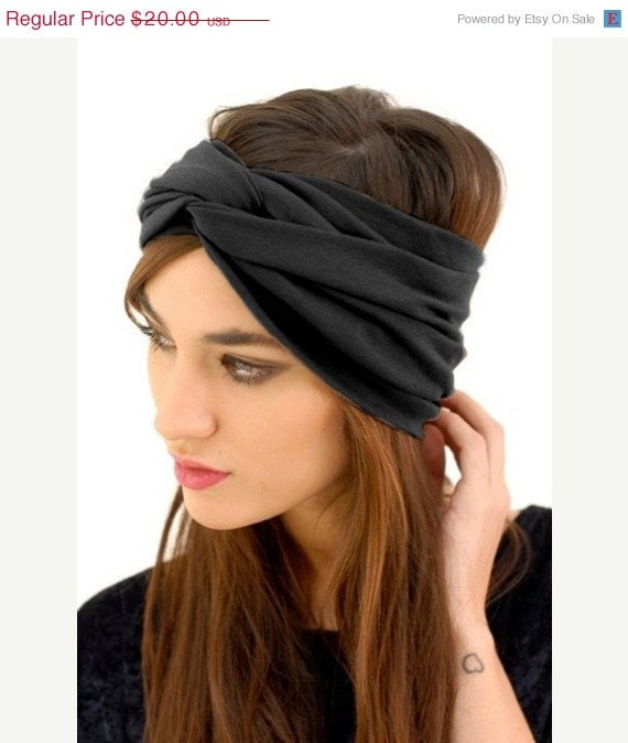 Babooshka Luxxe Turban Headband Hair Accessory Turband Black / Charcoal Gray Neutral Basic Color Solid Soft Premium Knit Jersey Fabric