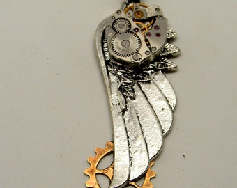 Steampunk jewelry. Steampunk angel wing necklace