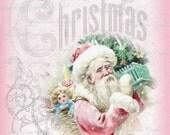 Pink Santa Shabby Christmas pink roses Large digital download ECS buy 3 get one free ECS svfteam
