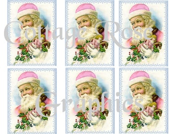 Pink Christmas Old Fashioned Santa  greeting card sheet Large digital download 3.5 x 4 inches ECS buy 3 get one free