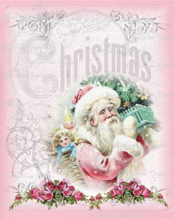 Pink Santa Shabby Christmas pink roses by CottageRoseGraphics