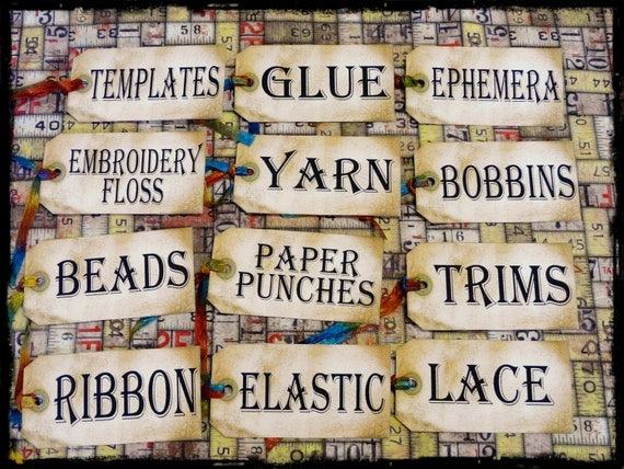 More Sewing Room Studio Supplies Tags 12 - label Uprint thread Digital Sheet storage supply ribbon vintage organize