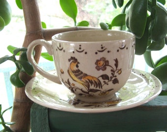 """Staffordshire Old Granite by Johnson Bros England """"Sun Up"""" Cup and Saucer"""