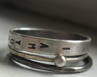 with RUSH and expedited shipping Sterling silver wedding set personalized stacking rings wedding band