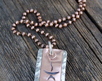 Unitarian Universalist Copper & Pewter Chalice Necklace