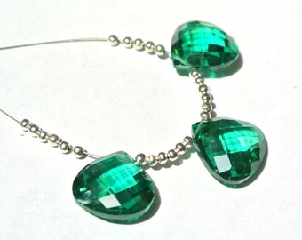 3 Piece Set AAA Lab Emerald Faceted Heart Briolettes Size 14x14mm 1 Matched Pair n A Focal Pendant