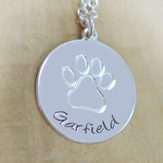 engraved paw print necklace by sincerelymepjd on etsy