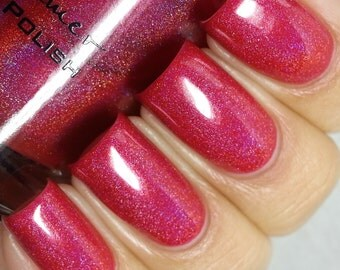 Whole Lava Lovin Red Holographic Nail Polish Nail Polish-  0.5 oz Full Sized Bottle