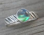 Abalone Shell Zebra Stripe Ring Rustic Sterling PMC Artisan Jewelry size 7