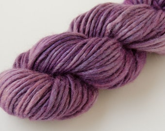 Hand Dyed Wool and Silk Bulky Weight Yarn - Purple and Pink - Sun-kissed OOAK