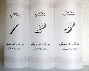 Personalized Wedding Luminary Table Numbers with Lace Border