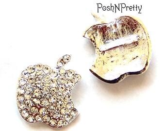 Two Apple Bite Crystal Sparkly Slider- for 3/8 ribbon