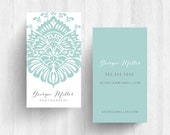 250 or 500 Custom Simple Damask Business Cards or Calling Cards