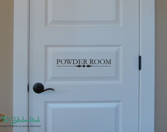 Vinyl wall graphics etsy for Powder room door size