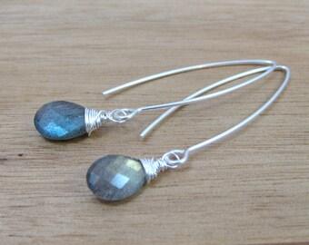 Labradorite Earrings Sterling Silver Blue Flash Long Drop Dangle Minimalist Jewelry Minimalist Earrings - Essence