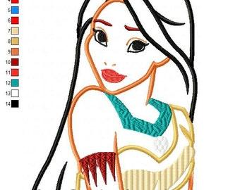 Pokohontas Applique Design Princess Machine Embroidery Digital Download